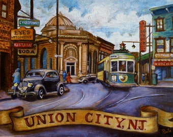 Print - Union City, NJ 1940s City Scene