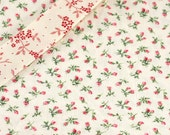 Bias Tape Binding - Little Rosebuds - 10 Yards Handmade Pink, Red and Green Flowers on White Cotton Fabric - Reserved Listing for Marie jo
