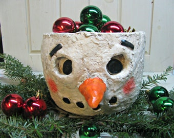 Paper Mache Snowman Head Bowl.