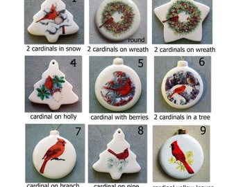Cardinal ornaments, pull down menu 9 styles, free personalizing 22k gold by Nicole