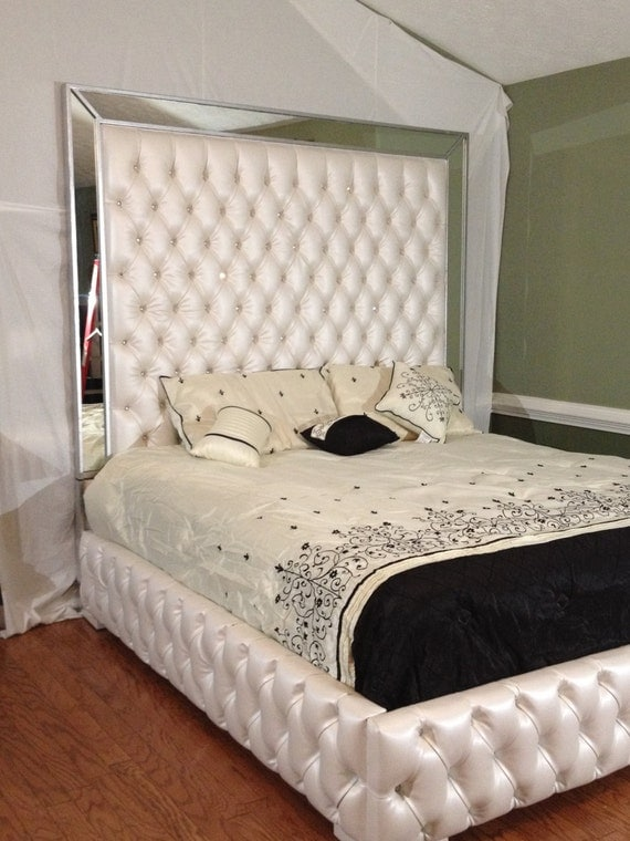 Luxurious Tufted Bed With Mirrors And Rhinestones By