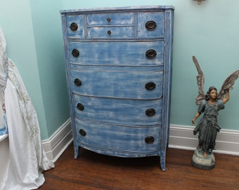 custom order Vintage Dresser shabby chic Blue White Distressed beach Boy Cottage Coastal Prairie tallboy antique