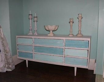 custom order mid century dresser beach coastal shabby chic  White Aqua blue Distressed Modern turquoise cottage
