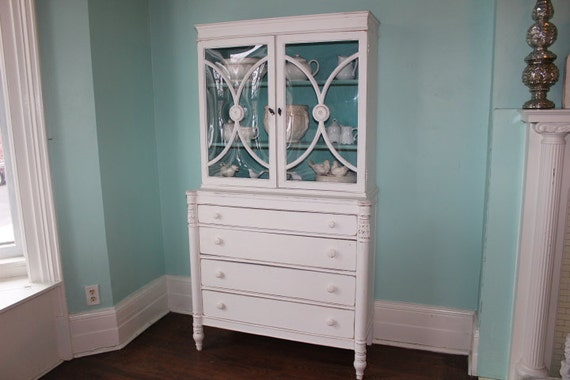 shabby chic china cabinet white aqua blue distressed country. Black Bedroom Furniture Sets. Home Design Ideas