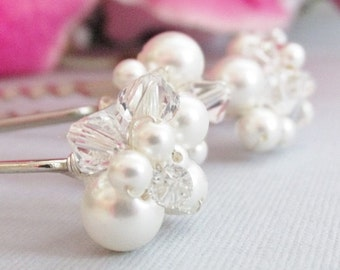 Wedding Hair Pins, Brides Hair Accessories, Crystal And Pearl Wedding Hair Pins, Cluster Wedding Hair Pins