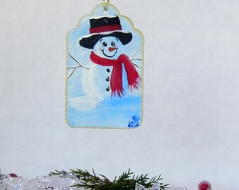 Snowman Tag Ornament , Hand Painted Hanging Decoration