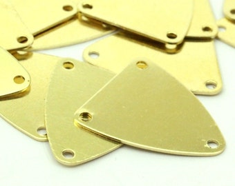 Brass Triangle Charms, 50 Raw Brass Triangle Charms with 3 Holes (18x16mm)  D041--N671