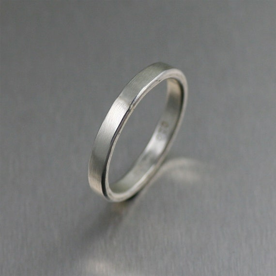 3mm Matte Stackable Sterling Silver Band Ring - Unisex Band Rings - Silver Stackable Band Rings - A Great Wedding Band or Commitment Ring!
