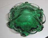Vintage 1950 Transparent Green  Murano Glass Green Ruffle Bullicante Bubbles Decorative Ashtray Mid Century Green Decorative Container