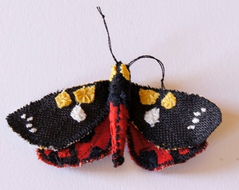 Textile Scarlet TigerMoth Butterfly Statement Fiber Brooch Jewelry Natural History Gift Entomology Woodland Accessory Creature of the Night