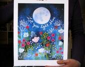Let Your Light Shine - Full Moon over Garden Flowers 11 x 14 Art Print