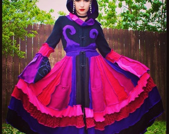 Recycled Sweater Coat with a Medieval Liripipe Hood by SnugglePants- Maleficent- Custom