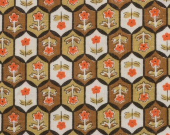 Vintage Sugar Sack, Small Tile Design in Whites Browns and Orange, Flower inside each Tile, 25 by 26 inches, Flour Sack, Feed Sack