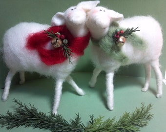 """Sheep (1 sheep) 6"""" Felted Wool Ornament - NEW Size for 2013"""