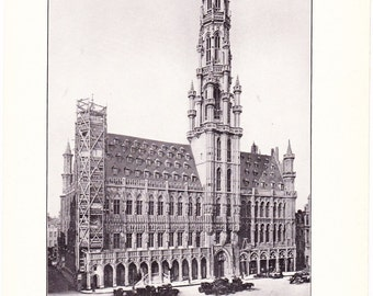 1909 Architecture Print - Brussels Grand Palace Belgium - Vintage Antique Art Illustration Interior Design for Framing 100 Years Old