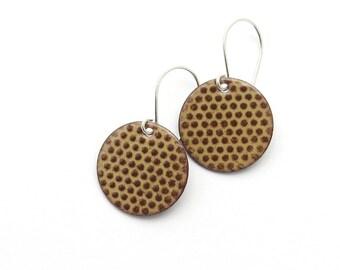 Brown Enamel Earrings - Brown Earrings - Polka Dot Earrings - Chocolate Brown Enamel - Dangle Earrings - Modern Enamel Jewelry