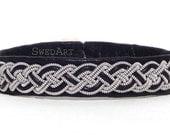 "SwedArt B02 Moose Swedish Reindeer Leather Sami Bracelet with Pewter Braid and Antler Button 3/8"" Wide Black MEDIUM"