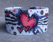 Love Beams Peyote Cuff Bracelet - Valentine Hearts