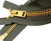 7 inch to 36 inch Extra Heavy Duty Jacket Zipper (Special Custom) YKK #10 Brass Separating - Select Length and Color