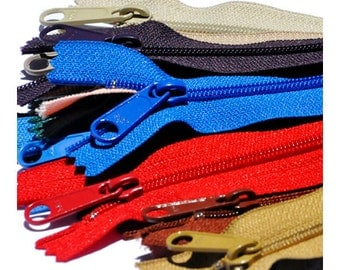 "Assorted YKK Handbag Zippers - Extra Long Pull - 7"" zippers 3 Grotto Blue 549, 5 Hot Red 519  9"" zippers: 5 Candy Blue 542"