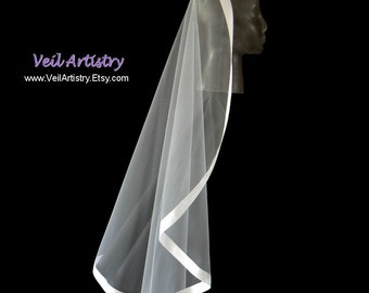 Bridal Veil, Mantilla Wedding Veil, Mantilla Veil, Fingertip Veil, Satin Ribbon Edge Veil, Ribbon Veil, Made-to-Order Veil, Bespoke Veil
