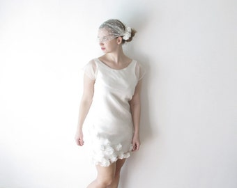 Camilla - Short silk Wedding Dress or rehearsal dinner dress with fabric flowers