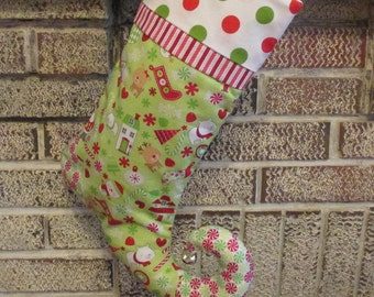 Elfin Toe Christmas Stocking , Personalized Green With Polka Dots