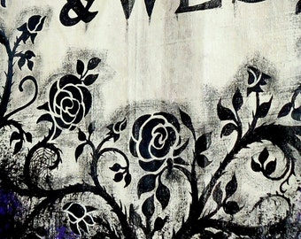 Halloween Wedding Banner....Unique Vintage Style Halloween Banner Painted JUST for YOU