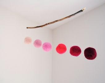 Geometric Wool Mobile in Ombre Pink- Baby Girl Mobile, Nursery Mobile, Montessori Mobile, Crib Mobile - Minimalist Wool Balls