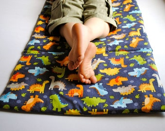 Toddler Nap Mat- Boys Preschool Napmat in Dinosaurs- Non Toxic Kids Bedding with Organic Denim