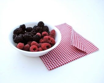 July 4th Cloth Napkins-  Red Gingham Napkins SET of 4 - Eco Friendly Reusable Country Picnic - Retro Food Napkins