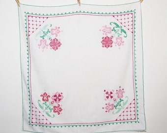 Vintage Tablecloth Ivory Linen with Hand Stitched Flowers Square