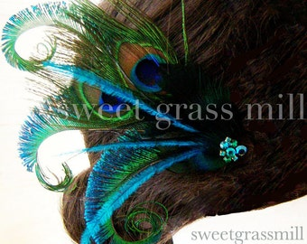 "Peacock Fascinator - Teal Ostrich Peacock Feather ""Joie Peacock"" Great Gatsby Green Crystal"