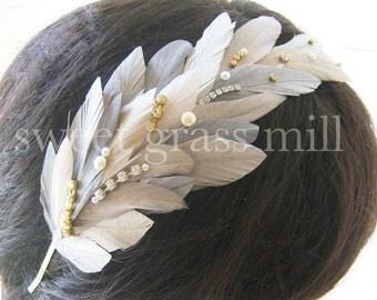 "Bridal Headband - Great Gatsby Soft Ivory Champagne Gray Pearl Crystal Jewel Feather Fascinator Headpiece ""Marseilles"""