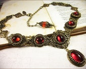 Medieval Necklace, Ruby Necklace, Red Garb, Victorian Necklace, Renaissance Jewelry, Bridal Jewelry, Wedding, Handfasting, Choose Your Color
