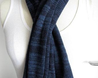 Long Cashmere/Silk Striped Scarf - Blues