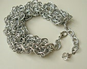 Handmade silver chain bracelet. Wide, faux chainmaille / chainmail. Silver aluminum. adjustable, one size fits most.