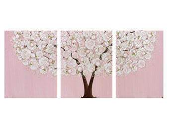 Baby Girl Nursery Wall Art - Tree Painting - Pink and Green Textured Canvas Triptych - Large 50x20