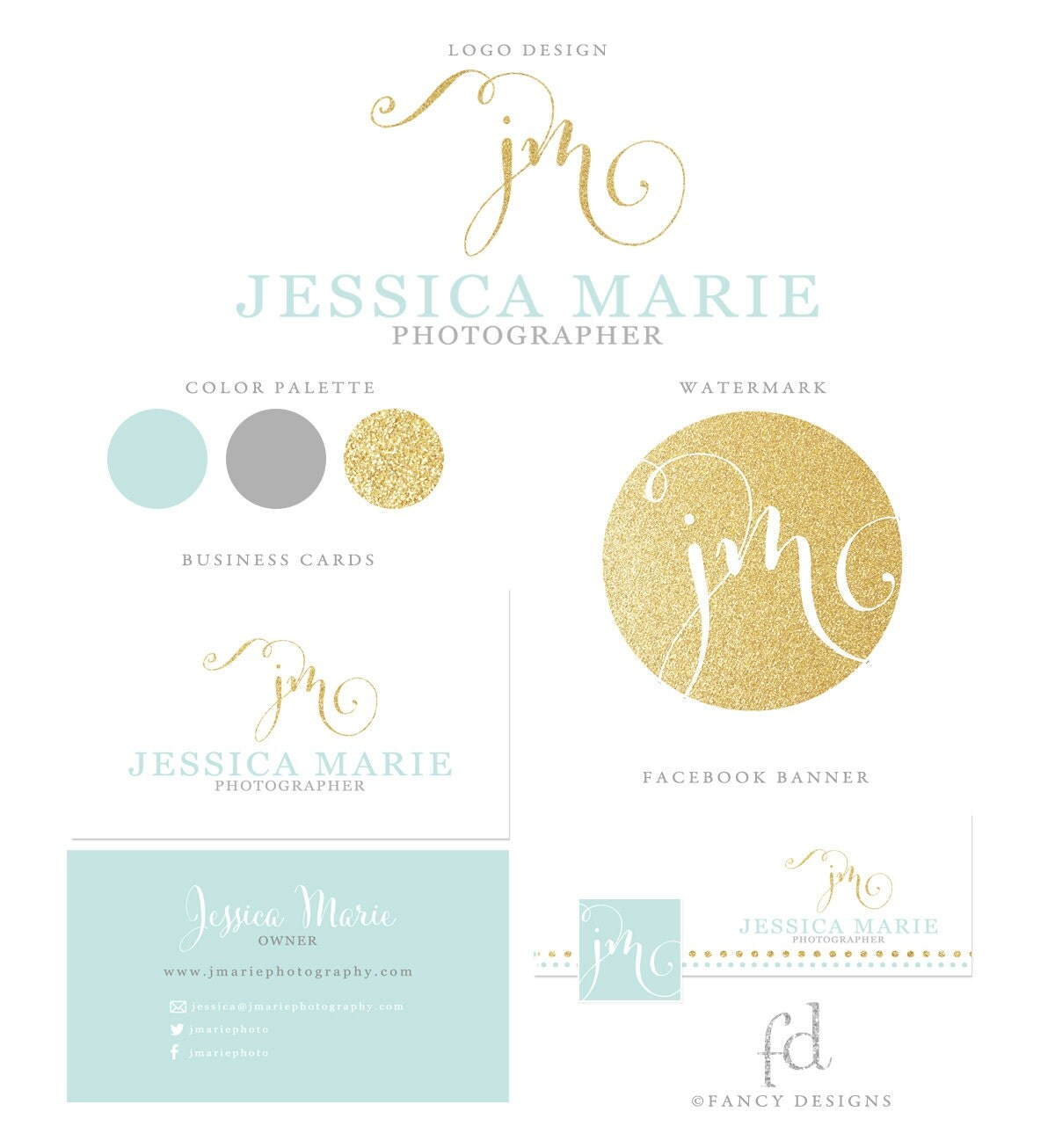 Teal Business Logo Gold Glitter Logo Photography By Fancybelle