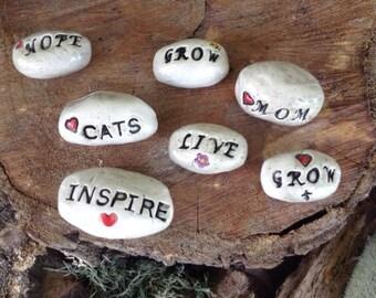 Message Stone - Glazed ceramic  Lucky Magical Pet rock terrarium fairy garden