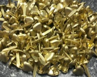 Mini Brads - Brushed Gold Hearts - 100ct or 50ct | Paper Fasteners | Scrapbook | Card Making