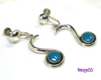 Earrings Sterling Turquoise Drop screw back