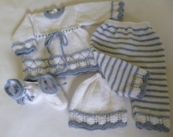 Photo Prop Outfit, Baby Girl Set, Knitted Baby Set, Newborn Girl Suit, Take Home Suit, Newborn  Set, Four Pces Baby Set, Baby Shower Gift.
