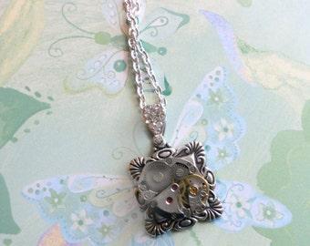 Steampunk Necklace, Repurposed Watch, Steampunk Pendant, Vintage Watch Works, Rhodium Plated Bail, Swarovski Crystals Pave,16 inch Chain