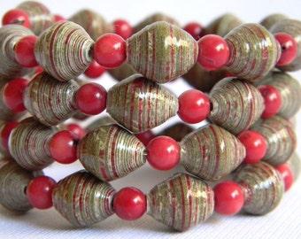 Paper Bead Jewelry - Memory Wire Bracelet - #140 - Valentine's
