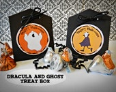 Kit-12 Halloween Treat Boxes  Dracula and Ghost  Party Favor, Classroom Treat, Trick or Treat