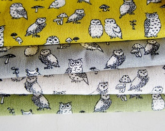 Animal Print Fabric By The Yard - Cotton Linen Blend - Owl Power on Green - Fat Quarter