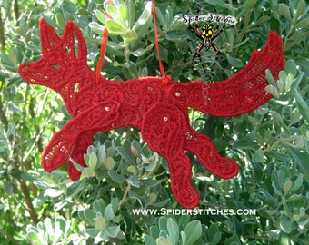 Holly Red  Embroidered Poseable Lace Fox Tree Ornament