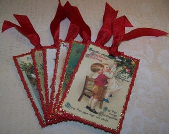 Christmas Tags Vintage Style - Set of 6