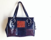 1960s Vintage Purse Mod Brown Black Block Vegan Handbag